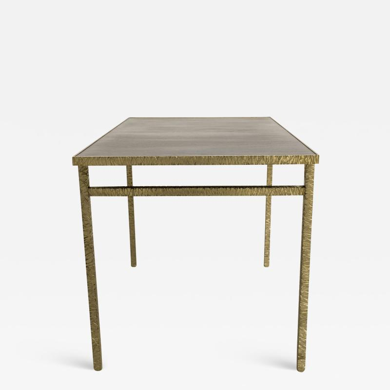 Contemporary End Table in Ziricote and Brass Hammered Collection
