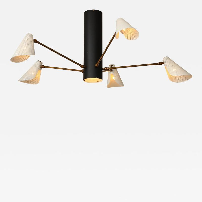 Contemporary Five Arm Brass Steel and Aluminum Flush Mount