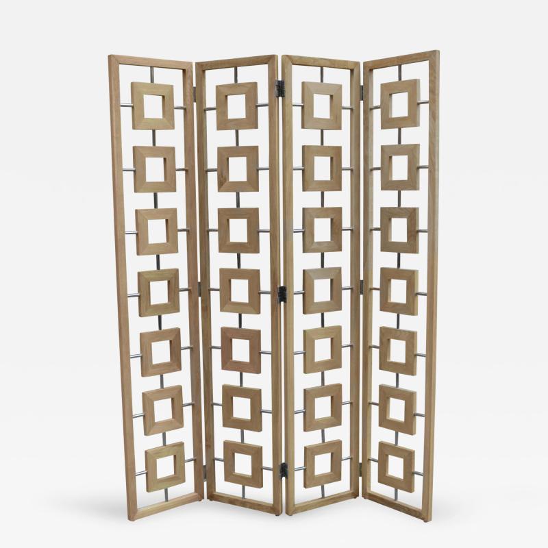 Contemporary Four Panel Folding Screen