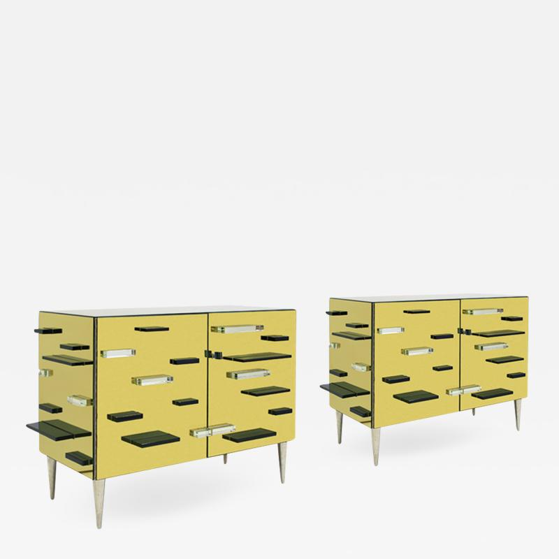 Contemporary Golden Murano Glass Mirror and Brass Pair of Italian Cabinets