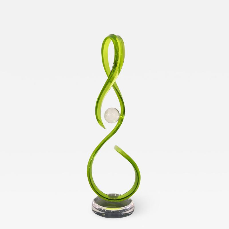 Contemporary Green Acrylic Abstract Sculpture with Scroll Design