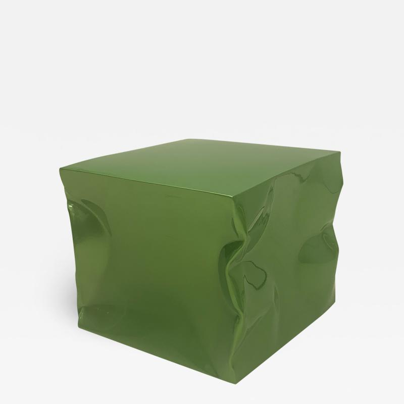 Contemporary Green Lacquered Metal Side Table