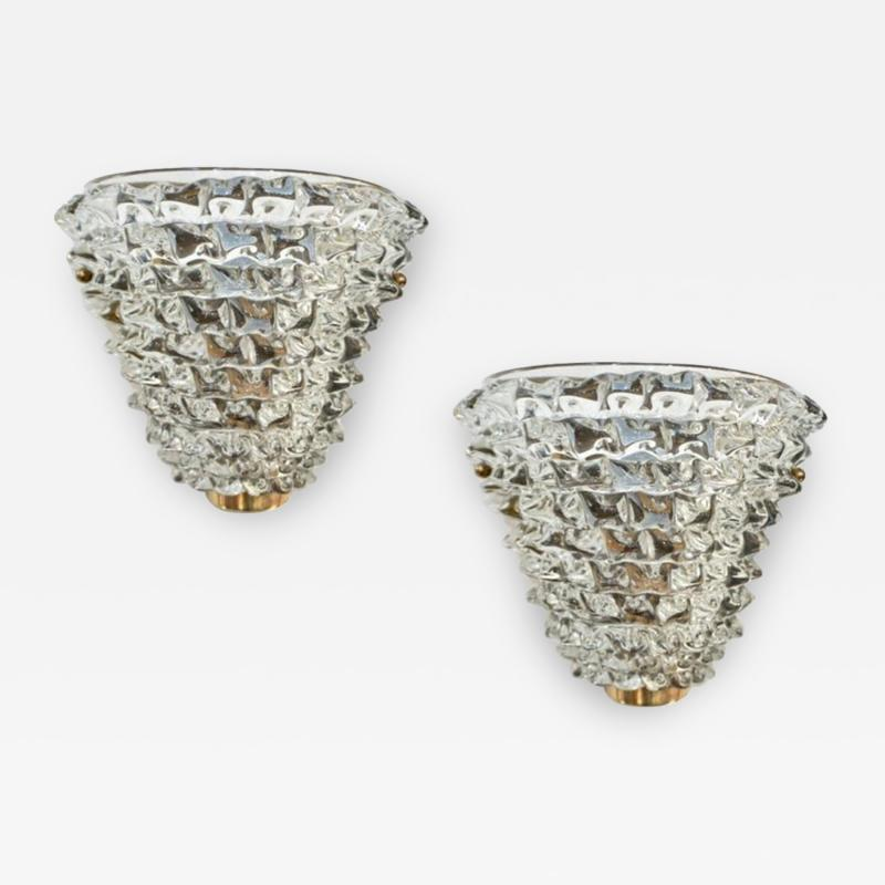 Contemporary Italian Brass Crystal Rostrato Textured Murano Glass Sconces