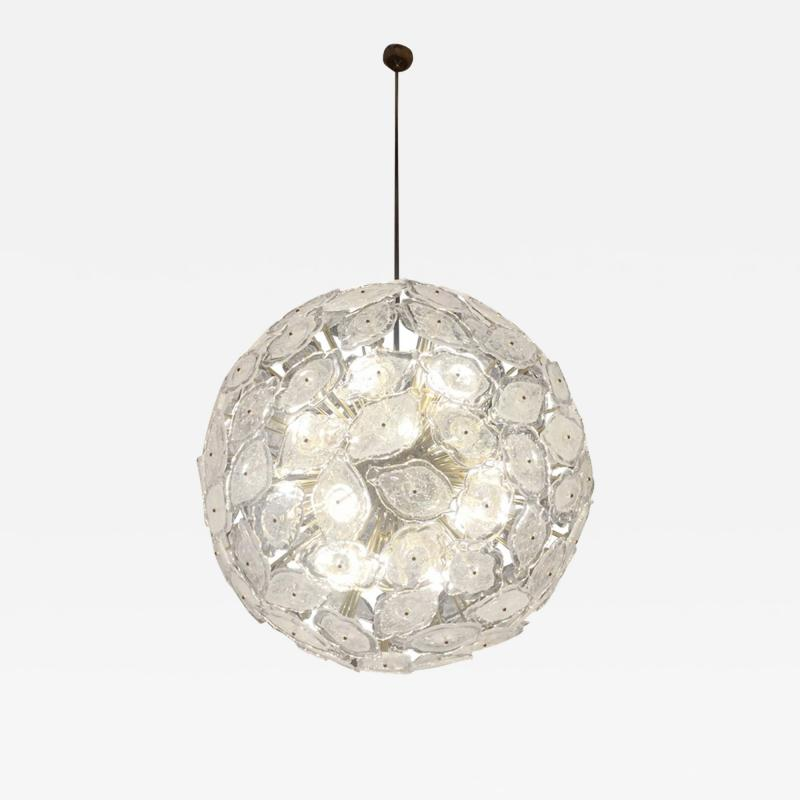 Contemporary Italian Brass White Frosted Murano Glass Leaf Sputnik Chandelier