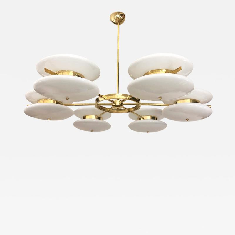 Contemporary Italian Minimalist Brass and White Murano Glass Globe Chandelier
