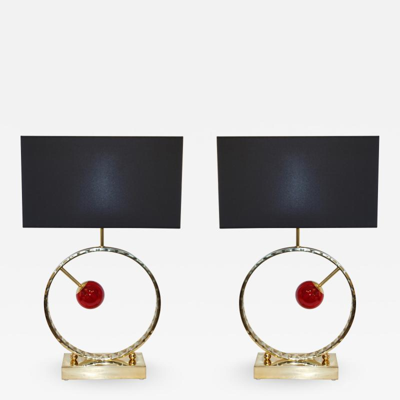 Contemporary Italian Monumental Pair of Brass Red Murano Glass Console Lamps