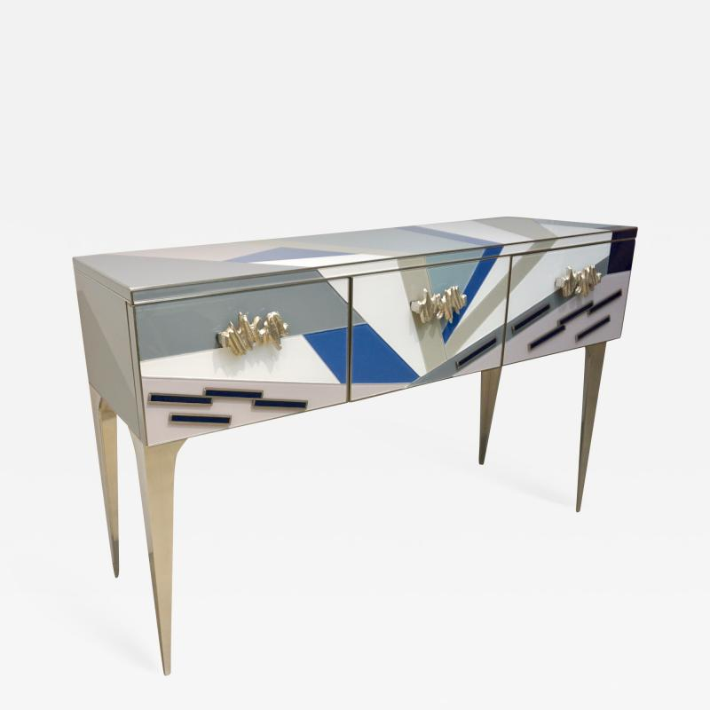 Contemporary Italian Pop Design Colored Glass Console Sideboard on Nickel Legs