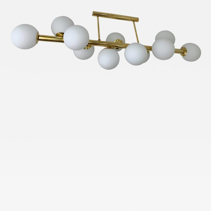 Contemporary Long Brass Chandelier Opaline Italy
