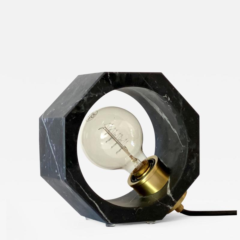 Contemporary Matlight Octagon Minimalist Table Lamp in Black Marquina Marble