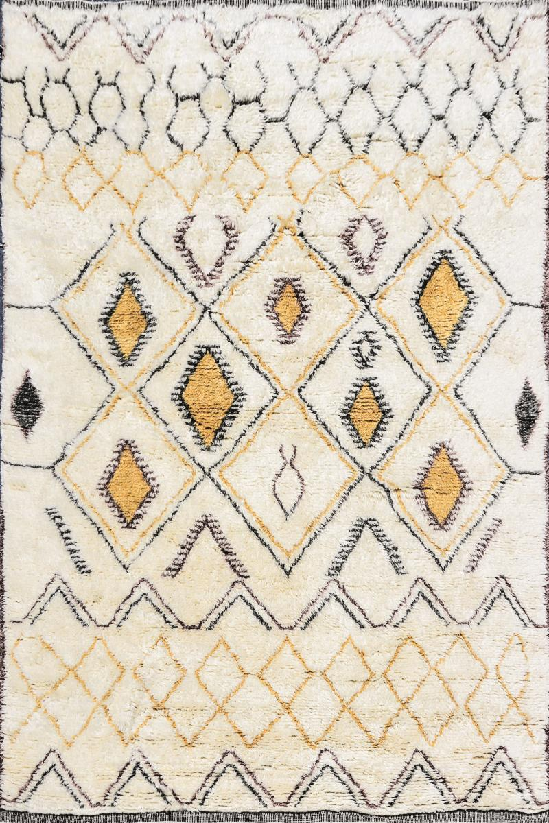 Contemporary Moroccan Ivory and Multi Color Wool Rug with Tribal Pattern