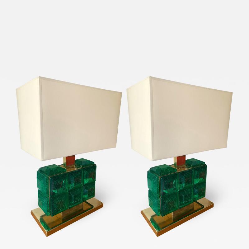 Contemporary Pair of Brass Lamps Green Diamond Murano Glass