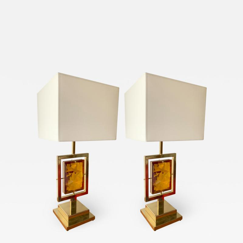 Contemporary Pair of Brass Lamps Murano Glass Italy