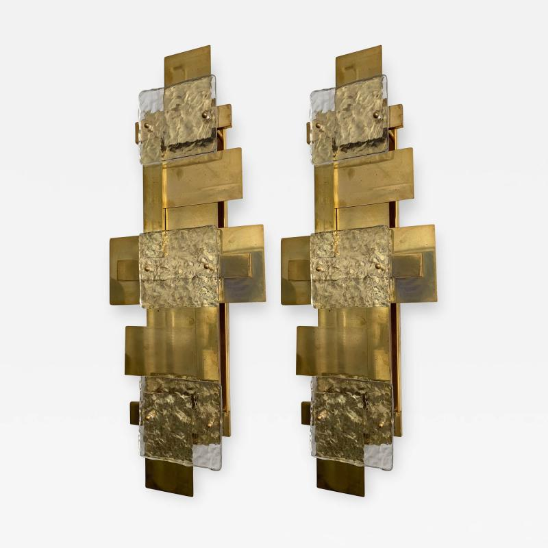 Contemporary Pair of Brass Sconces Geometrical Murano Glass Italy