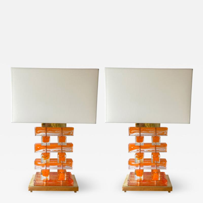 Contemporary Pair of Murano Glass and Brass Kapla Lamps Italy