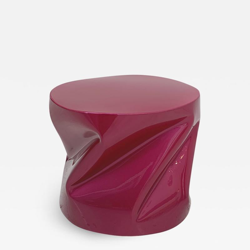 Contemporary Pink Lacquered Metal Side Table