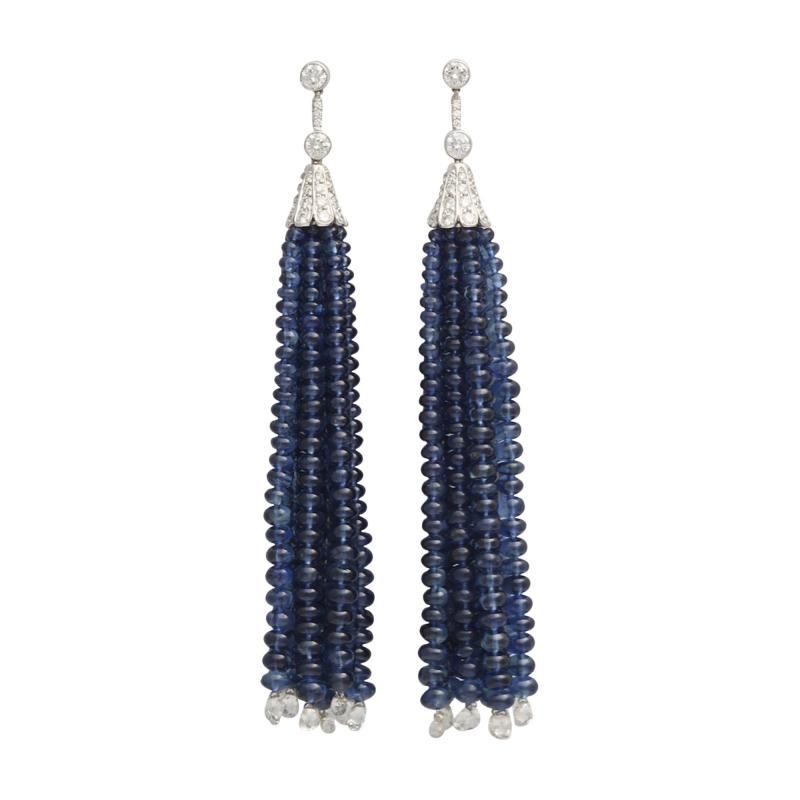 Contemporary Sapphire Bead and Diamond Tassel Earrings in 18K White Gold