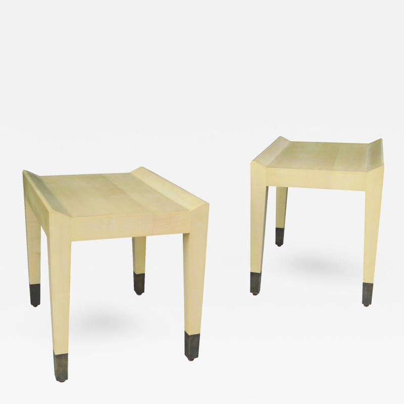Costantini Design Gianfranco Quilted Sycamore Side Tables with Bronze Sabots Custom