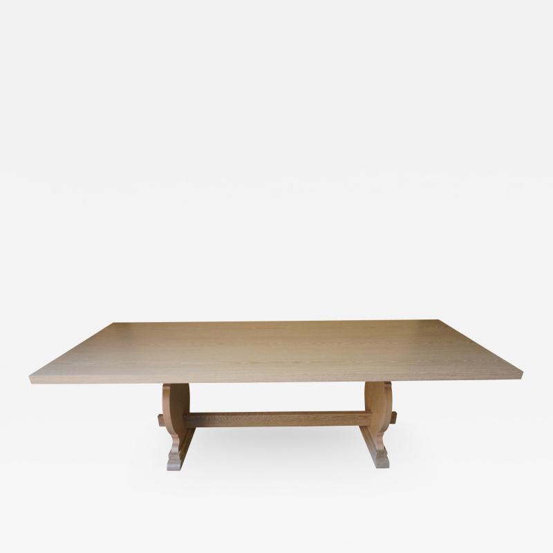Costantini Design Manolo Basque Inspired Trestle Dining Table in Cerused Oak Customizable