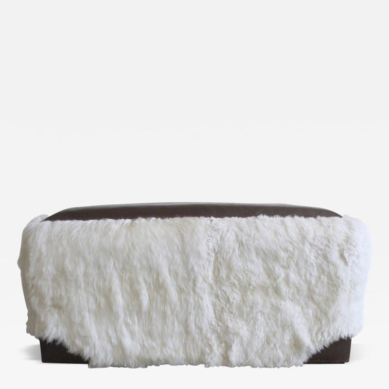 Costantini Design Ovino Contemporary Leather and Sheepskin Bench from Costantini Customizable