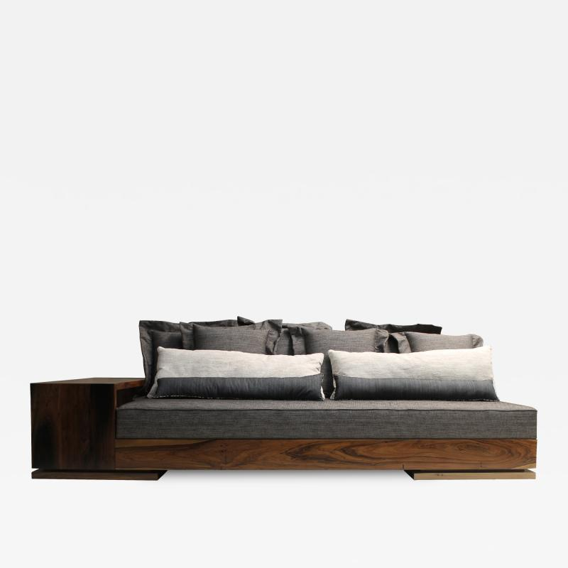 Costantini Design Patone Custom Modern Sofa in Rosewood with Shelving from Costantini