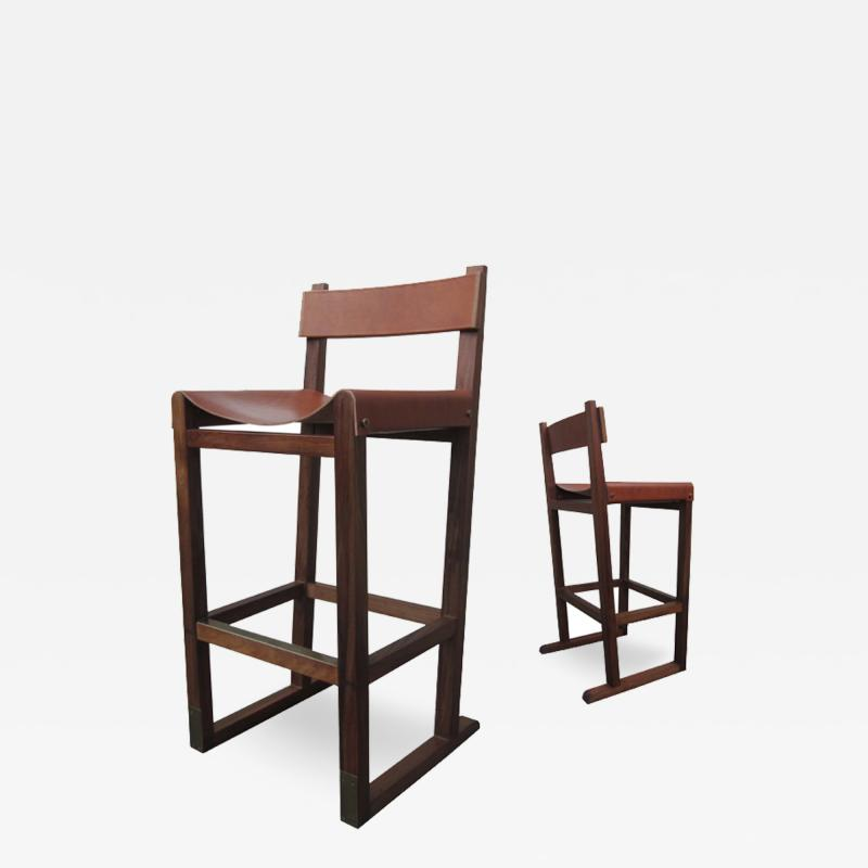 Costantini Design Piero Stool in Argentine Rosewood and Leather Wrapped Back and Slung Seat