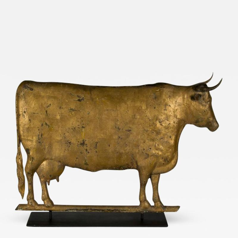 Cow Weathervane Excellent Scale Great Boxy Form with Gilded Surface