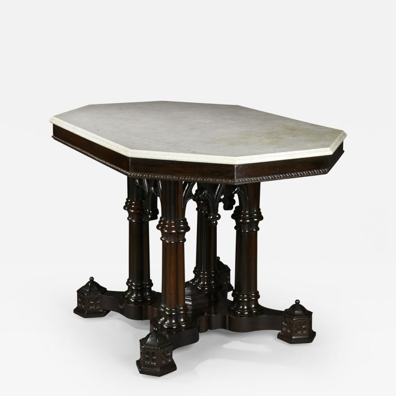 Crawford Ridell Philadelphia Gothic Center Table Circa 1845
