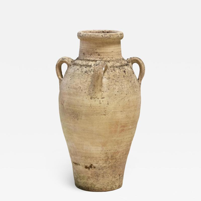 Cream colored Amphora or Biot Pot with 3 handles