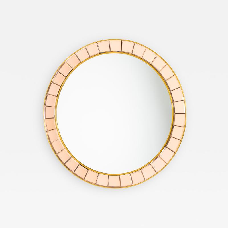 Crystal Arte Mid Century Round Wall Mirror