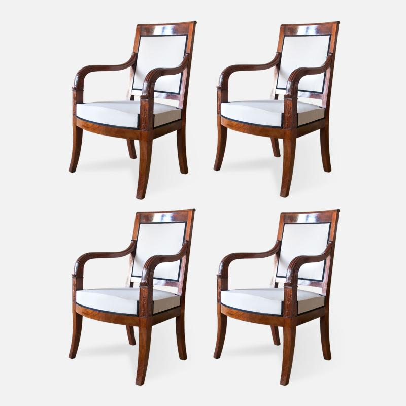 Cuban Mahogany Open Arm Chairs