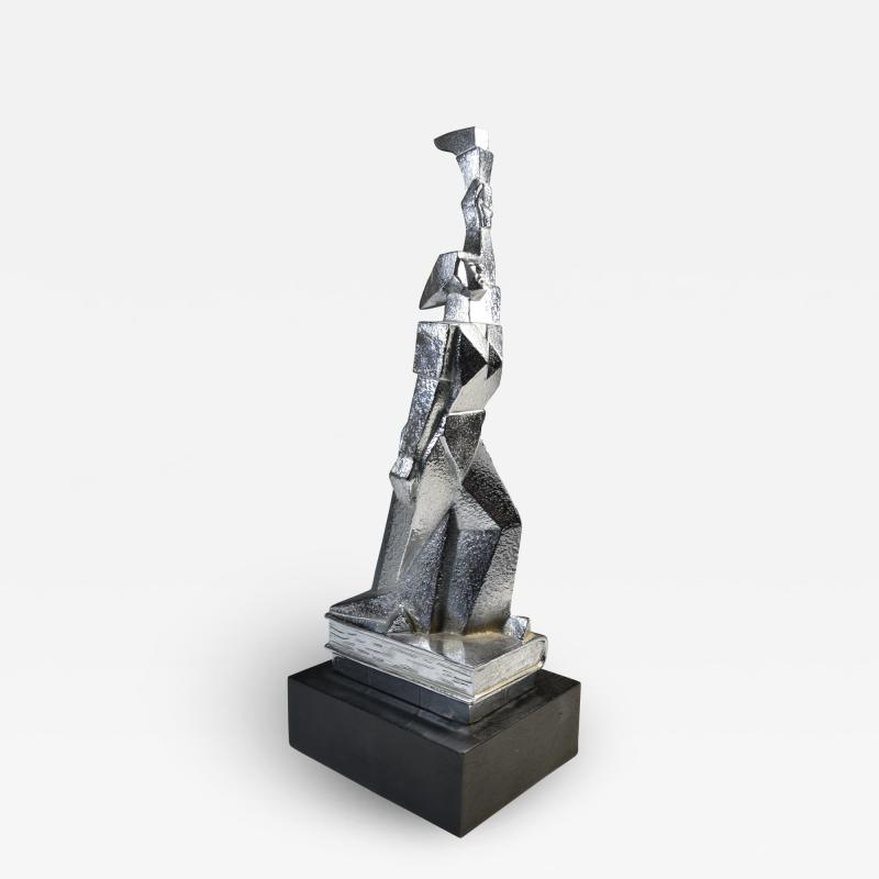 Cubist Monument Bronze Sculpture Woman with a Torch