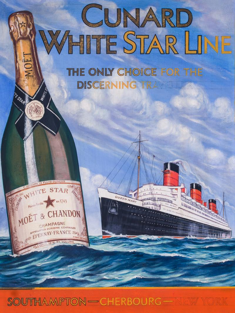 Cunard White Star Line R M S QUEEN MARY Moet Chandon Original Advertising Art