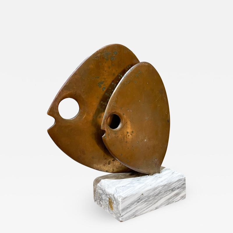 Curtis Jer 1970s C Jere Modernist Abstract Sculpture Two Bronze Fish Marble Base Mount