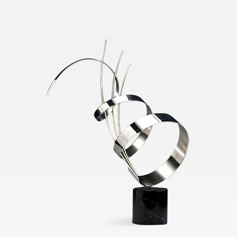 Curtis Jer Abstract Chrome Sculpture on Marble base C Jere signed