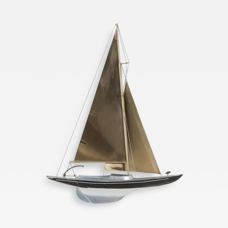 Curtis Jer Brass Racing Sail Boat Wall Mount Sculpture by Curtis Jere 1995