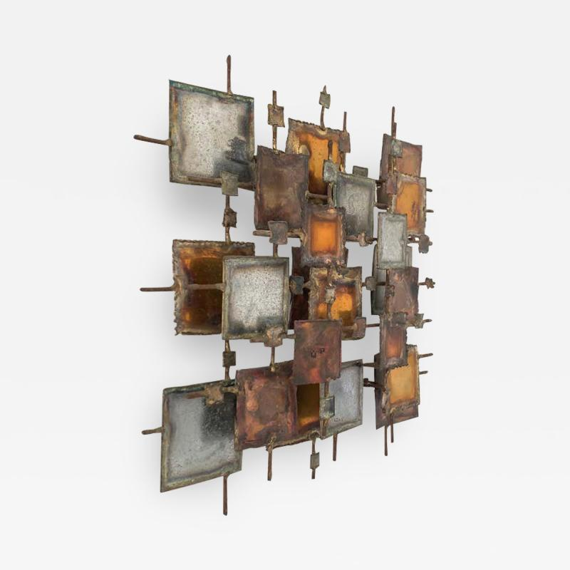 Curtis Jer Brutalist Bronze Copper Brass and Steel Wall Sculpture 1970 Signed MONK