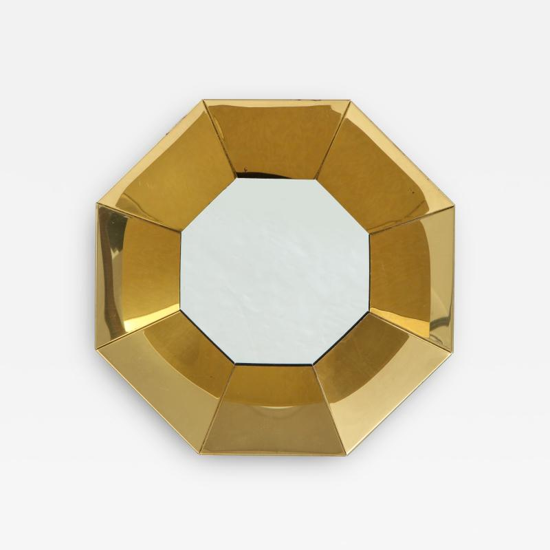 Curtis Jer C Jere Faceted Brass Mirror signed