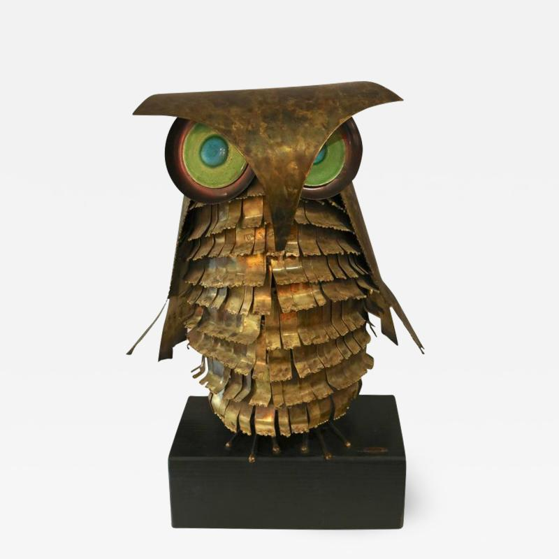 Curtis Jer Curtis Jere Brass Owl Sculpture circa 1969
