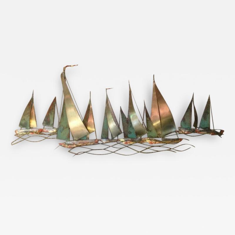 Curtis Jer Curtis Jere Sailboat Wall Sculpture 1971