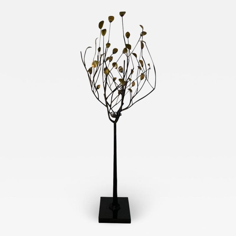 Curtis Jer MODERN BRASS LEAF AND METAL TREE WITH BIRDS NEST ON MARBLE BASE