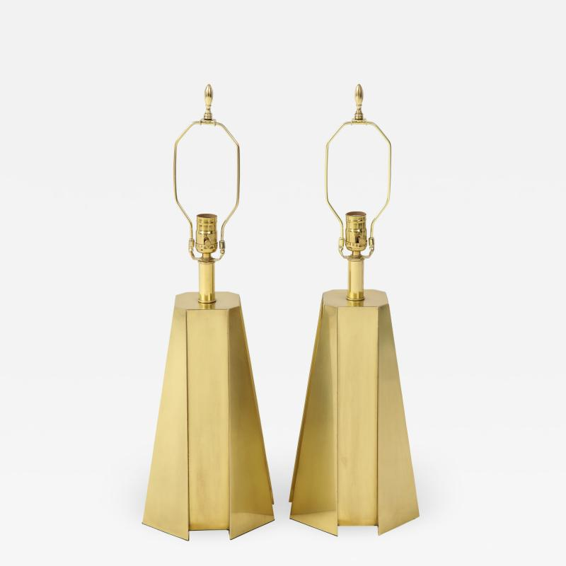 Curtis Jer Mid Century Modern Faceted Brass Table Lamps
