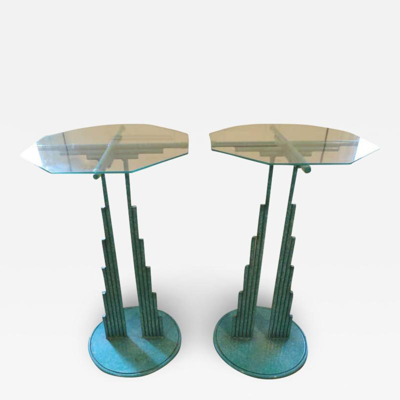 Curtis Jer Rare Pair of Curtis Jere Memphis Style Side Tables Pedestals Mid Century Modern