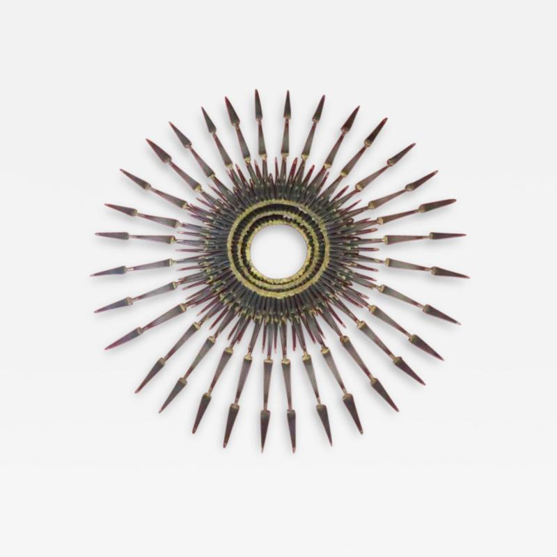 Curtis Jer Stunning C Jere Style Brutalist Starburst Nail Wall Sculpture Mid Century 1970s