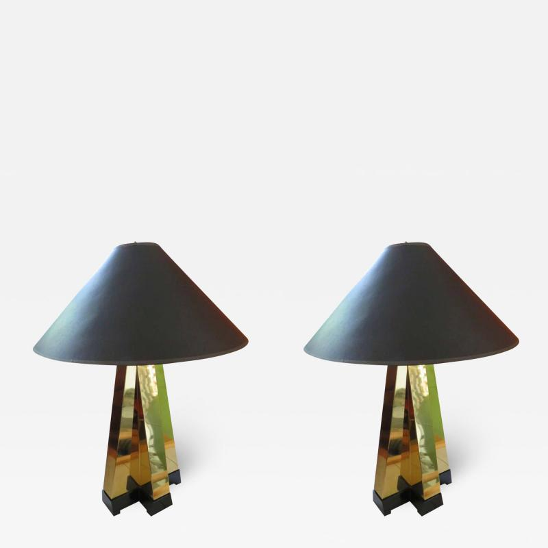 Curtis Jer Wonderful Pair of Curtis Jere Style Brass Table Lamps Mid Century Modern