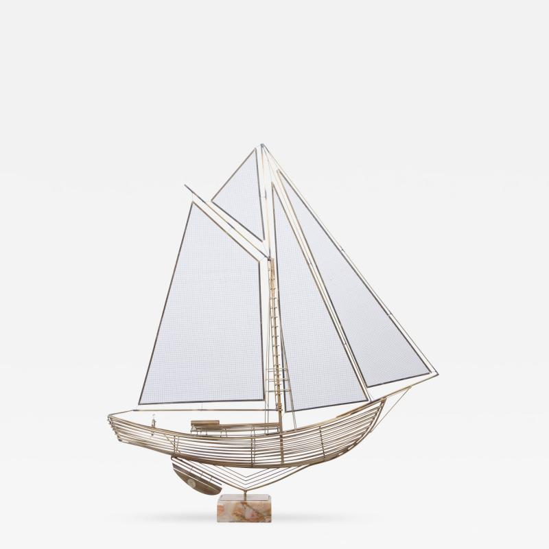 Curtis Jere C Jere Brass Sailboat Model with Onyx Base