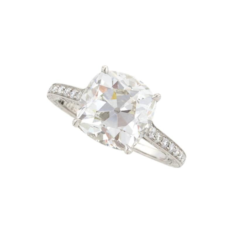 Cushion Cut 4 07 Carat Diamond Ring Set in Platinum with Diamond Accents