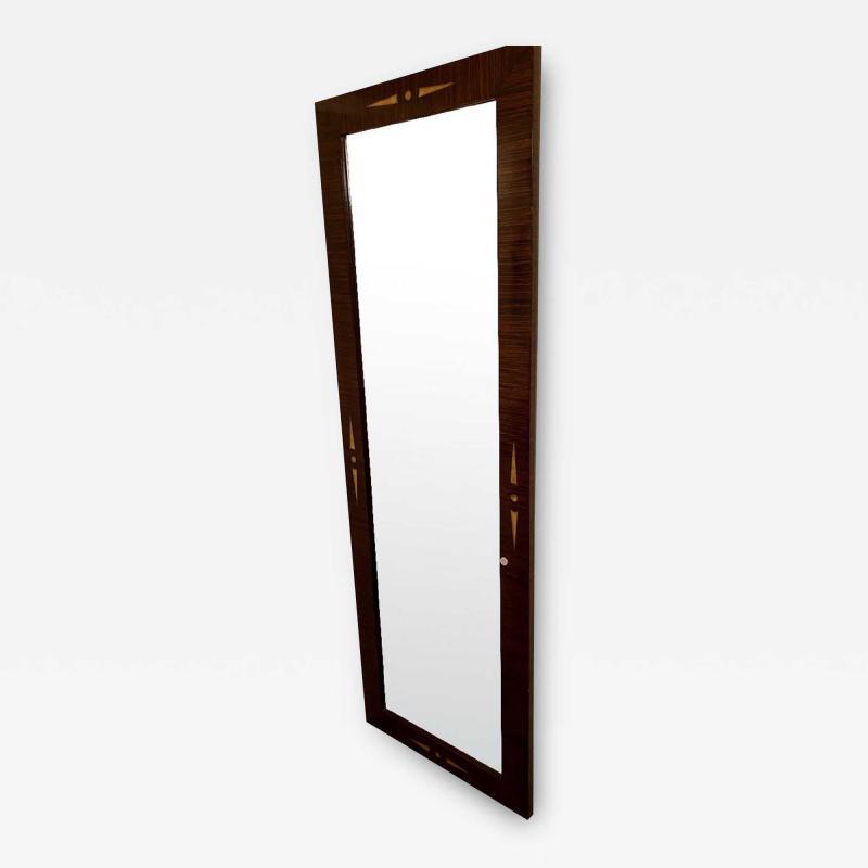 Custom Beveled Art Deco Macassar and inlay Tall Vertical Mirror