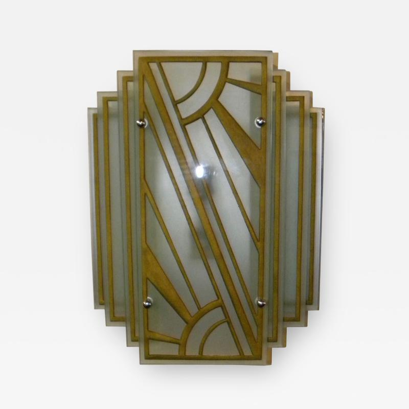 Custom Etched Glass Gold Stepped Modernist Art Deco Light