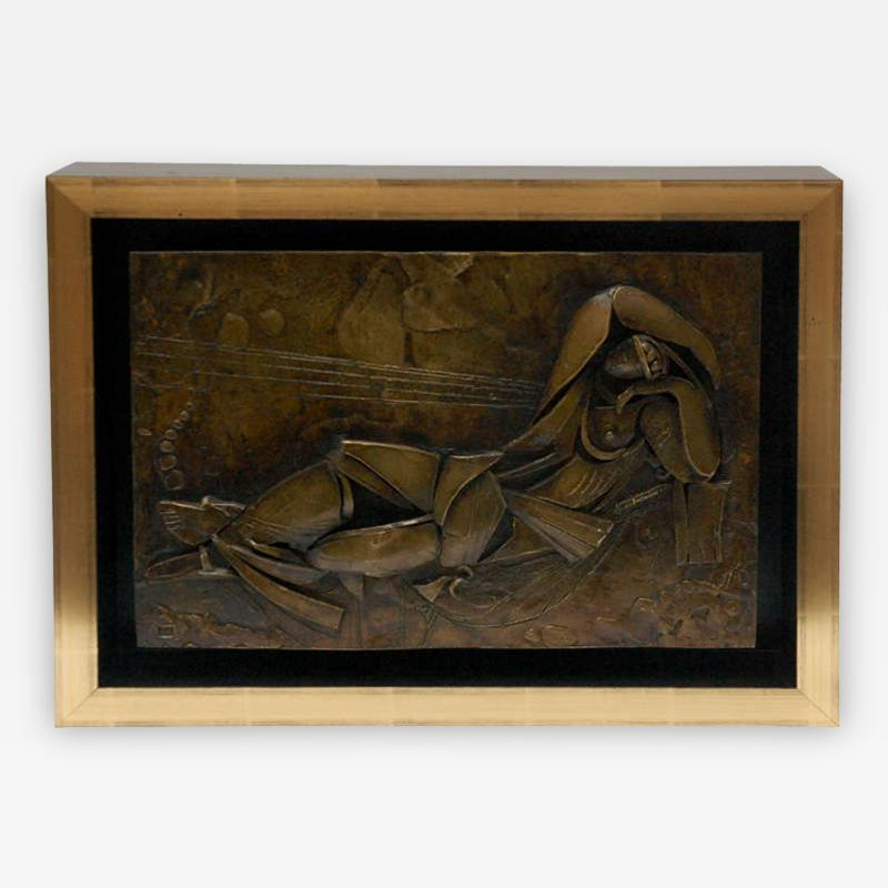 Custom Framed Relief of a Reclining Figure