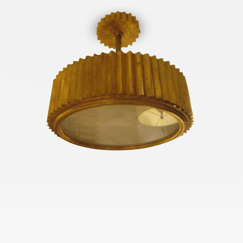 Custom Giltwood Hand Carved Fixture in the Art Deco Manner